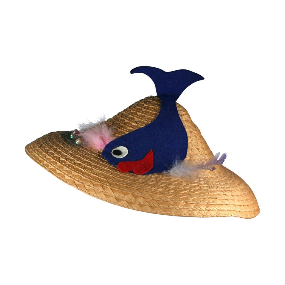 Italian Straw Fish Beach Hat For Sale