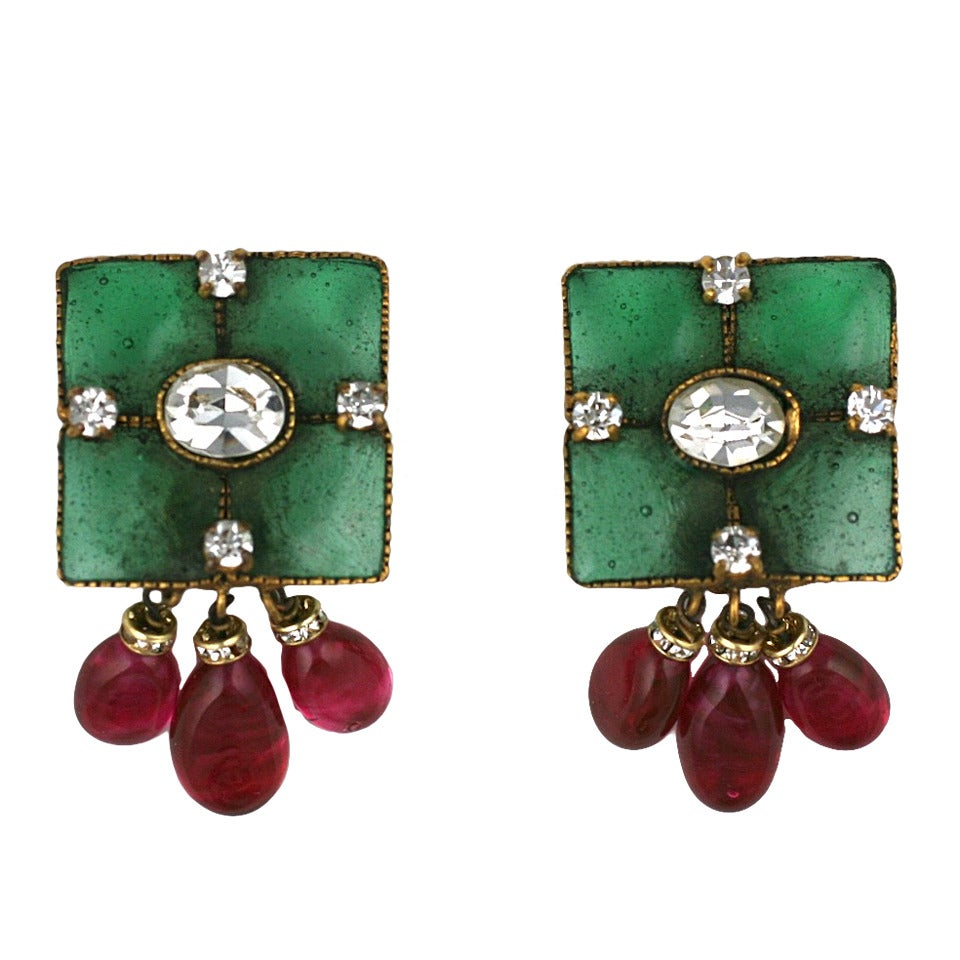 Vintage Gripoix Emerald and Ruby Drop Earclips 1