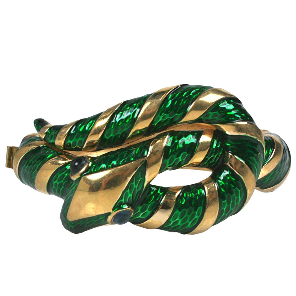 Trifari Enamel Snake Bangle For Sale