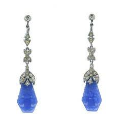 Art Deco Faux Carved Chalcedony Long Earrings