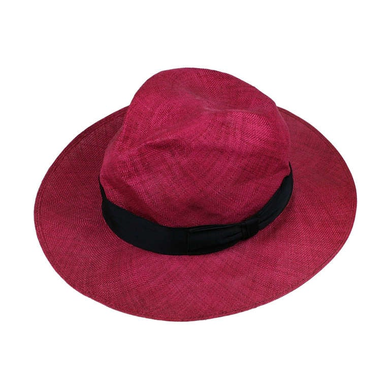 Fuschia Straw Panama Hat, Italy 1