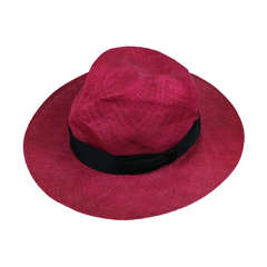Fuschia Straw Panama Hat, Italy