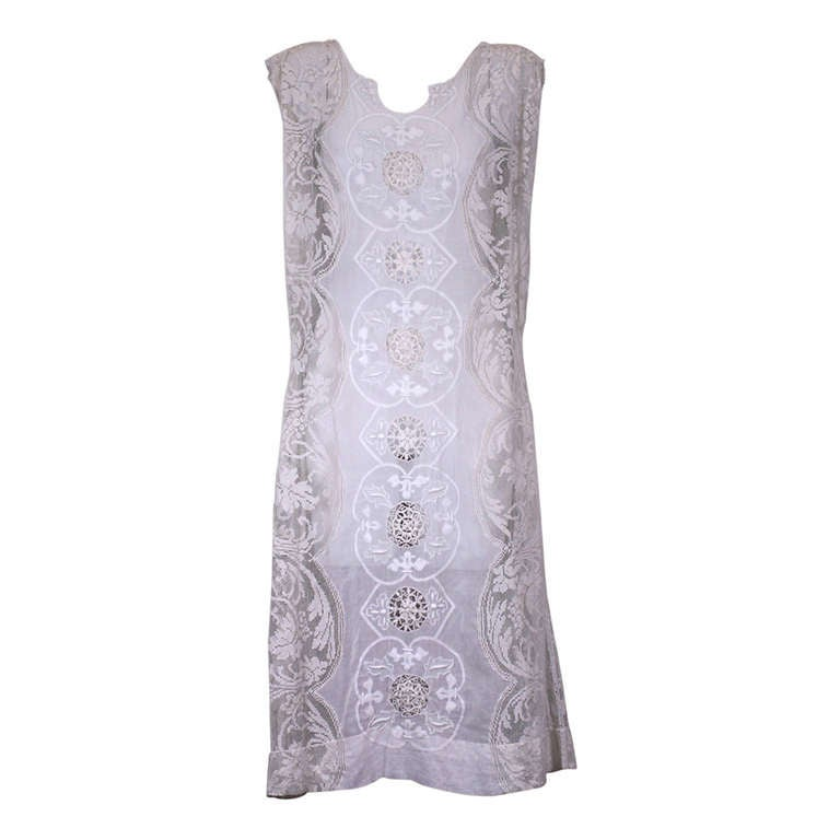 French 1920's Embroidered and Filet Lace Afternoon Dress.