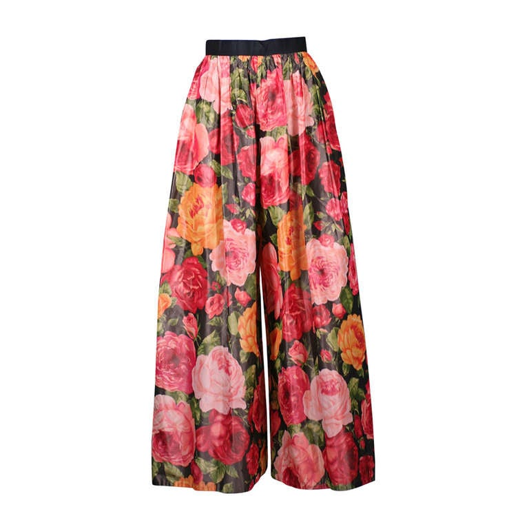 Bill Blass Paper Taffeta Rose Palazzo Pants For Sale