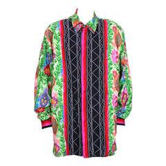 Versace Ikat Tropical Printed Mens Shirt