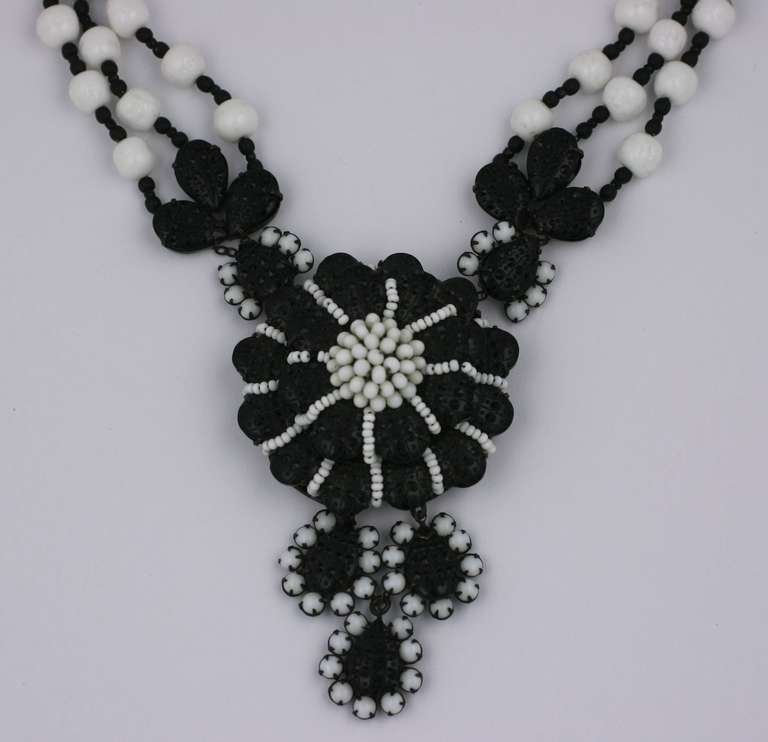 Miriam Haskell Black and White Georgian Revival Flower Necklace 2