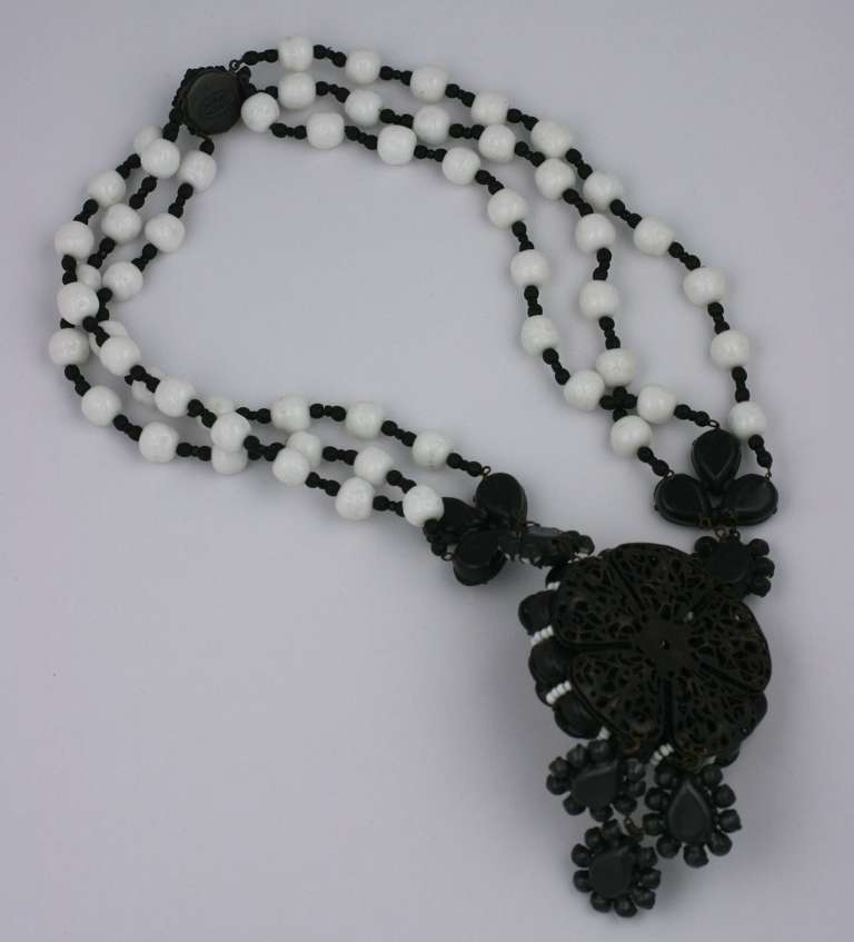 Miriam Haskell Black and White Georgian Revival Flower Necklace 3