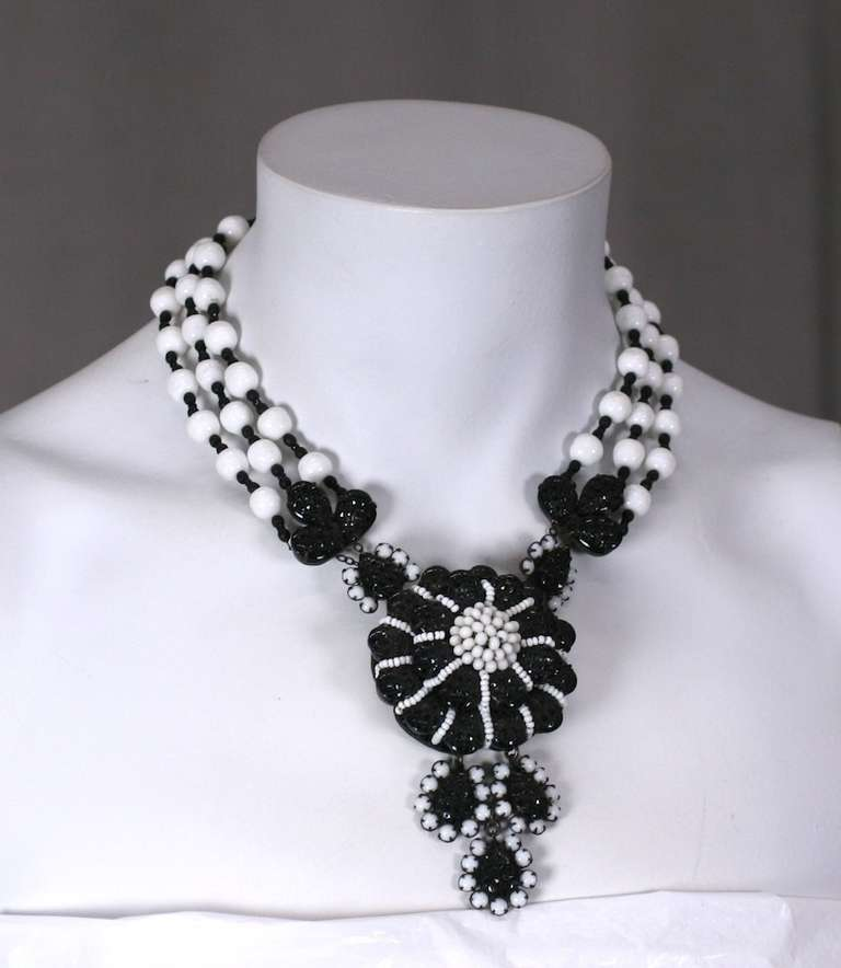 Miriam Haskell Black and White Georgian Revival Flower Necklace 4