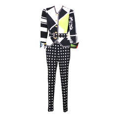 Versace Black and White Graphic Suit