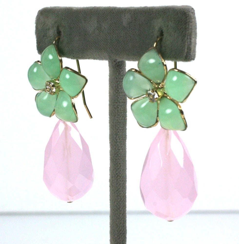 "Jade Pate de Verre and Rose Quartz ""Palm Beach"" Earrings, MWLC 2"