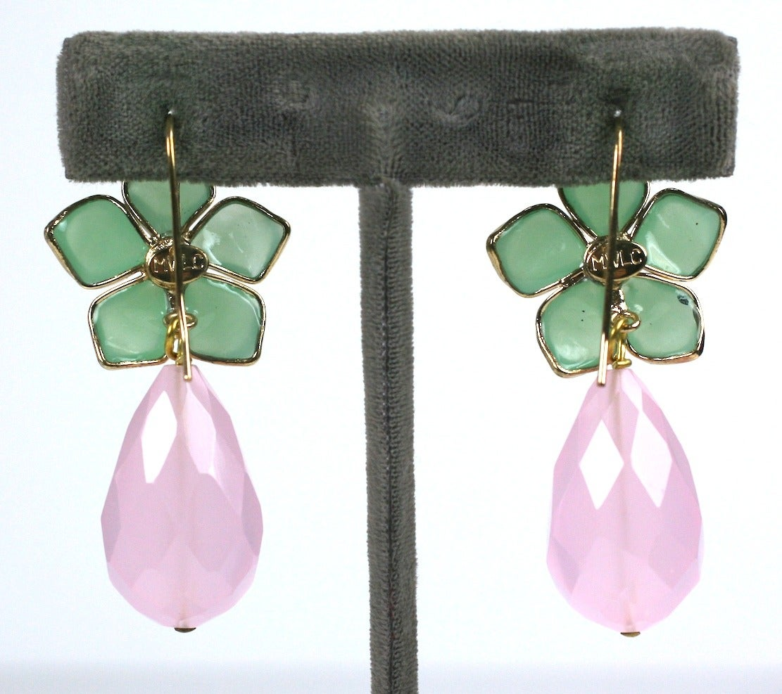"Jade Pate de Verre and Rose Quartz ""Palm Beach"" Earrings, MWLC 3"