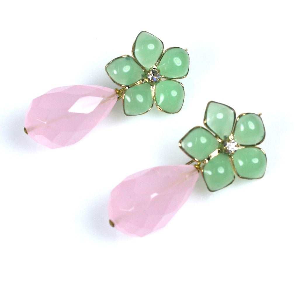 "Jade Pate de Verre and Rose Quartz ""Palm Beach"" Earrings, MWLC 4"