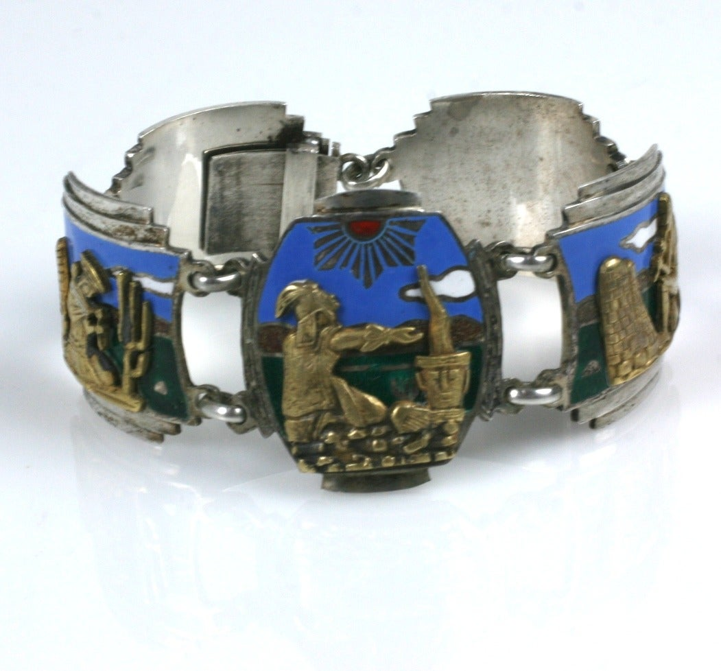 Unusual Art Deco Panel Bracelet In Excellent Condition For Sale In Riverdale, NY