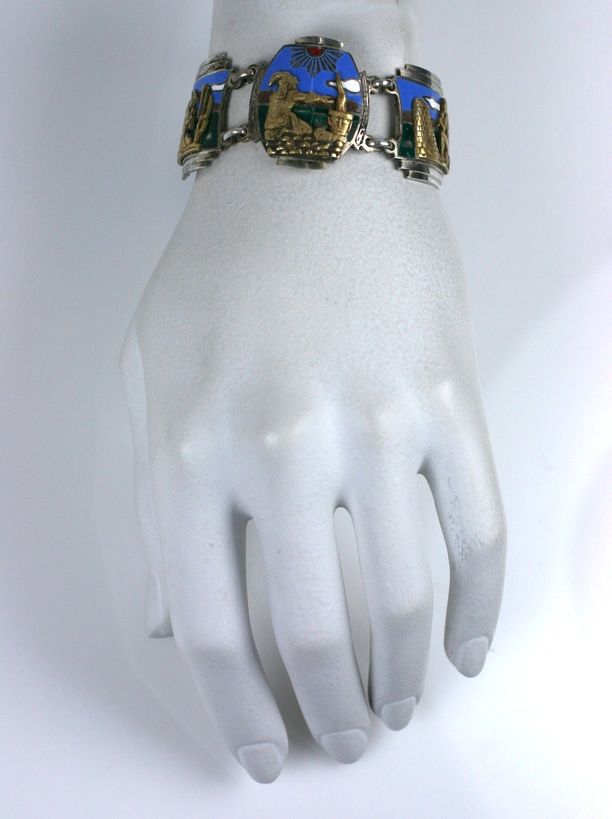 Women's or Men's Unusual Art Deco Panel Bracelet For Sale