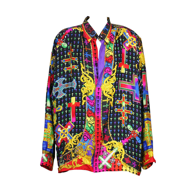 1e0f7611 Gianni Versace Couture Barocco Crucifix Silk Print Mens Shirt For Sale