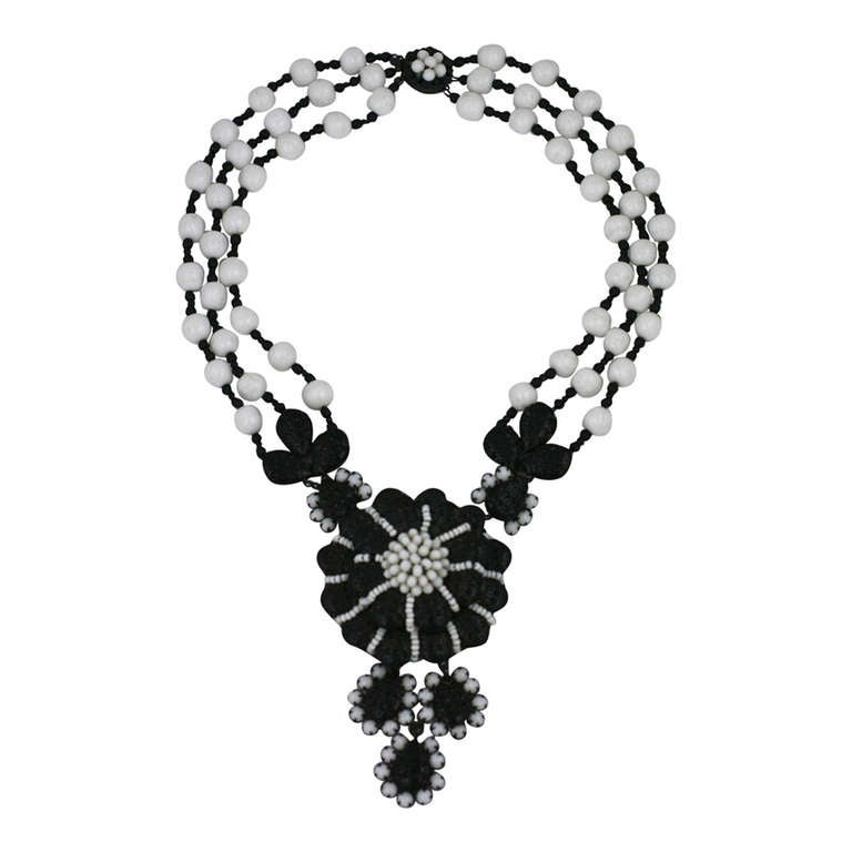 Miriam Haskell Black and White Georgian Revival Flower Necklace 1