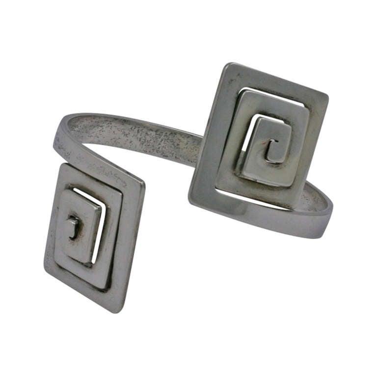 Puig Doria Greek Key Modernist Cuff For Sale