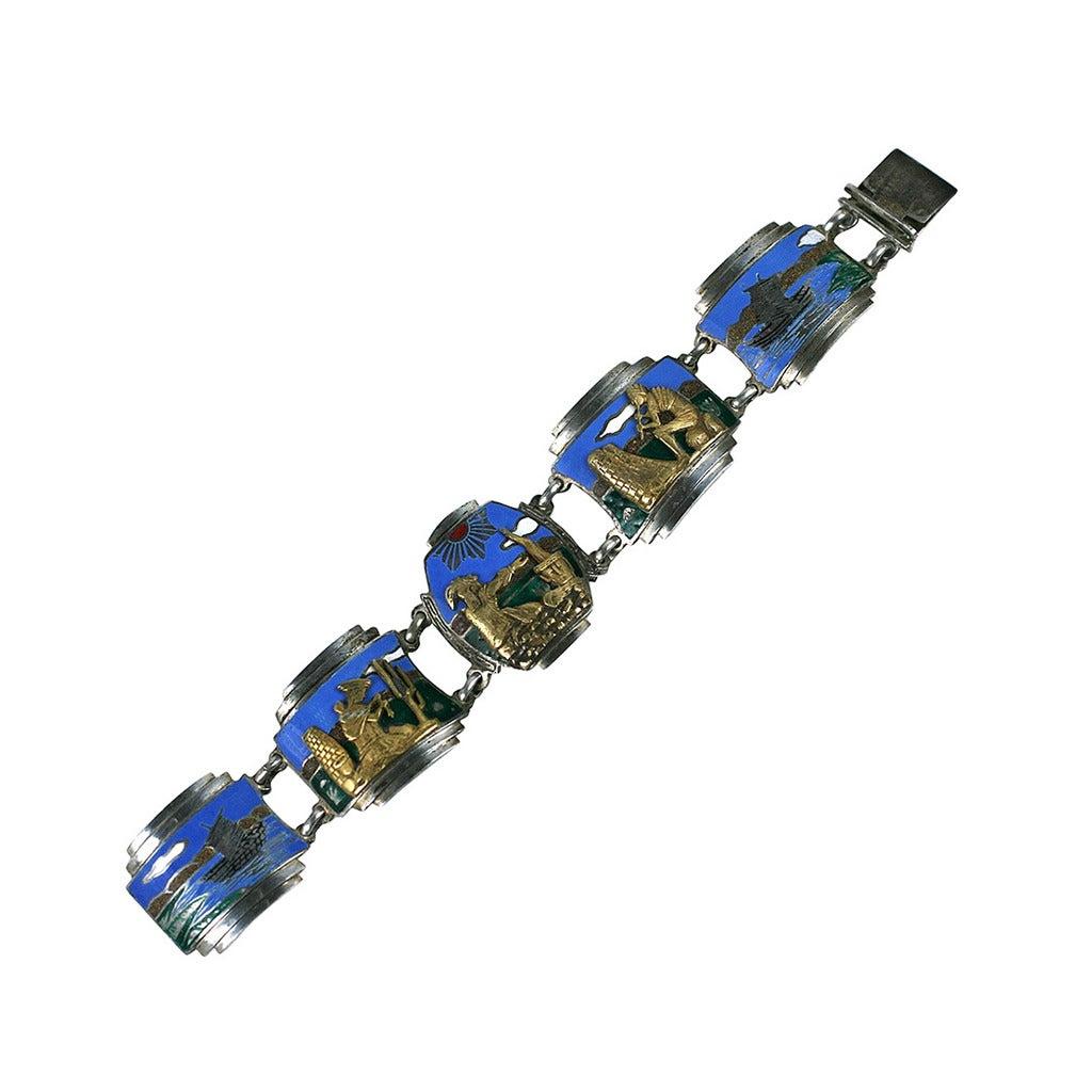 Unusual Art Deco Panel Bracelet For Sale