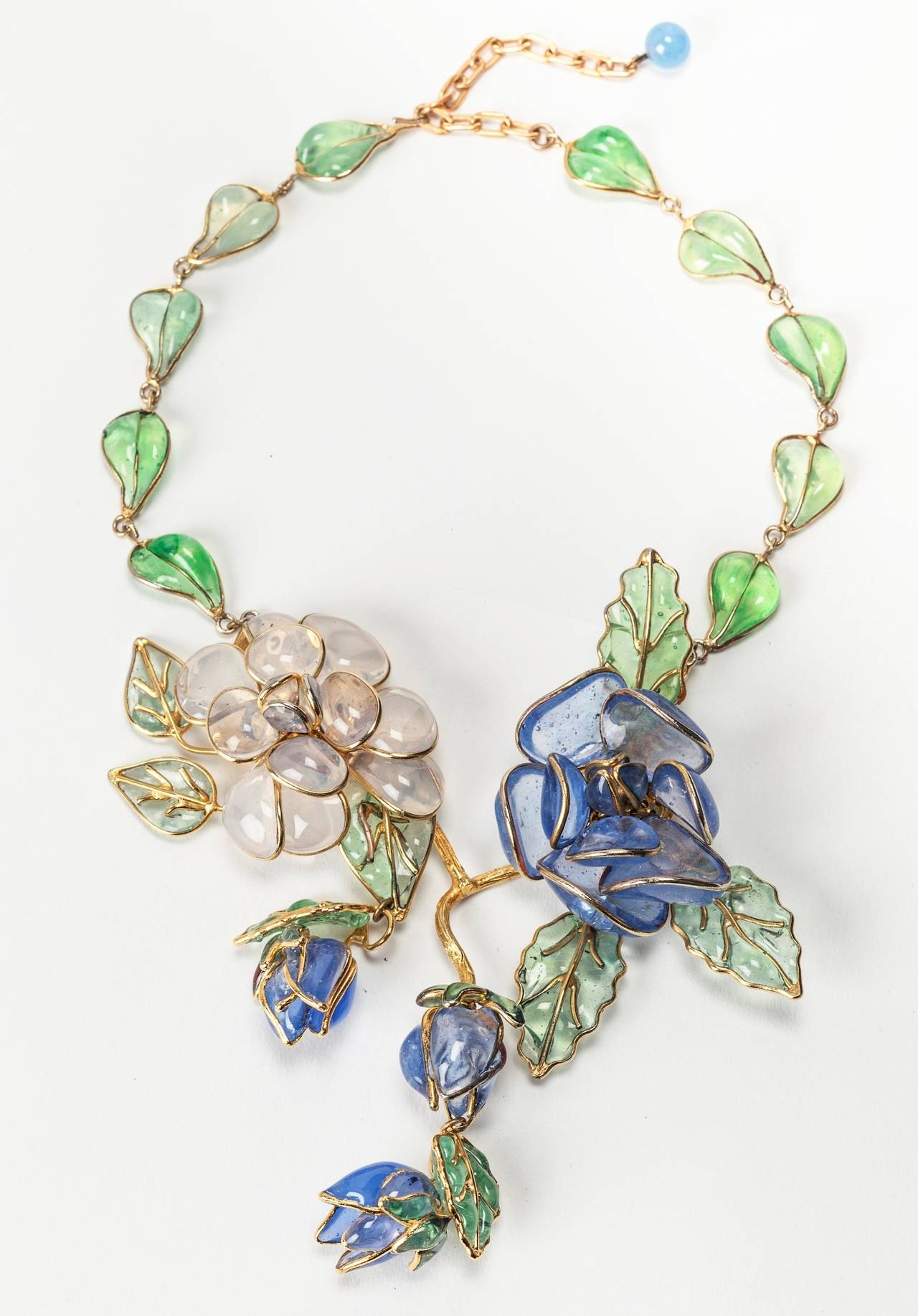 Chanel Glass Enamel Flower Necklace In Excellent Condition For Sale In Riverdale, NY