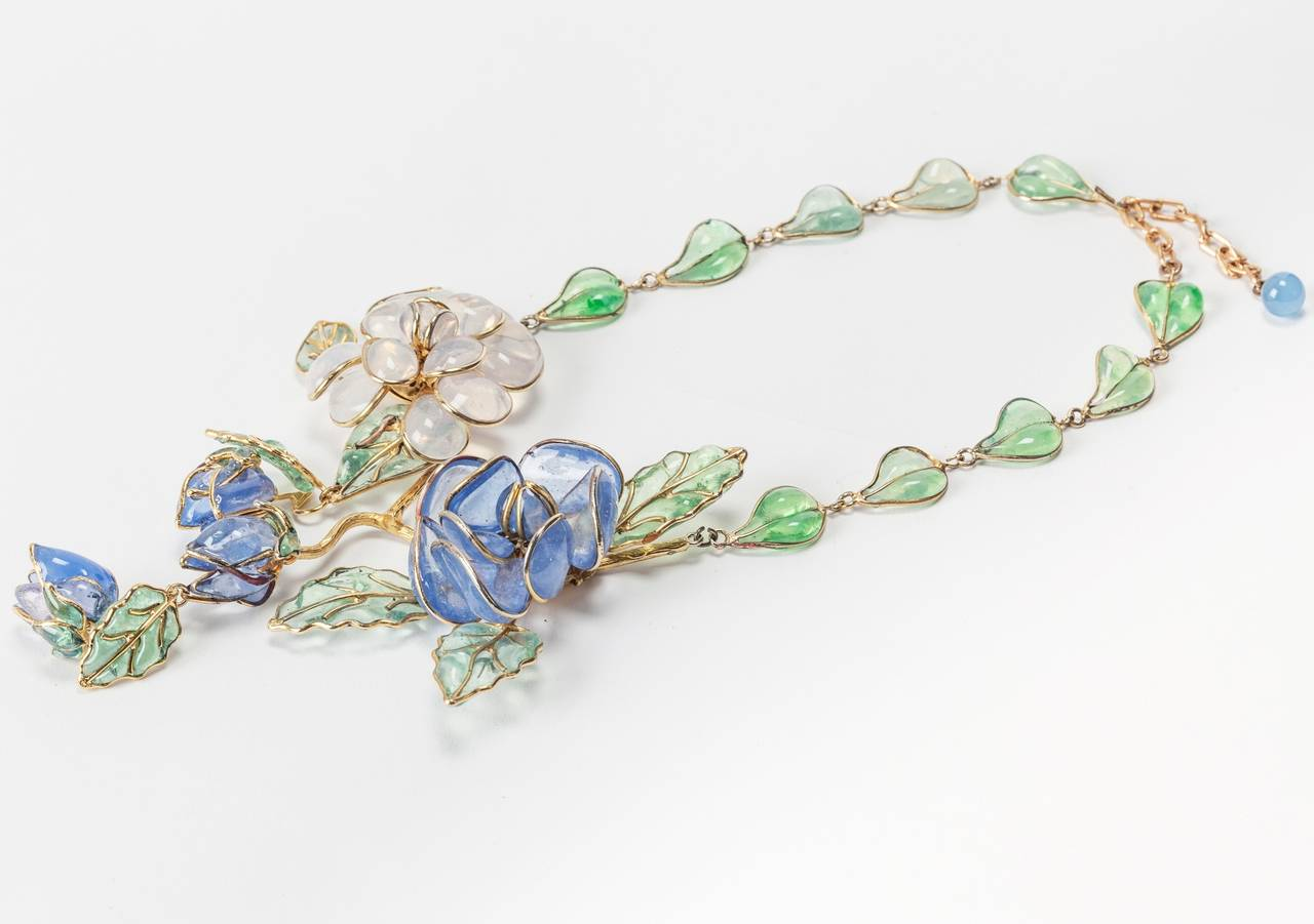 Women's Chanel Glass Enamel Flower Necklace For Sale