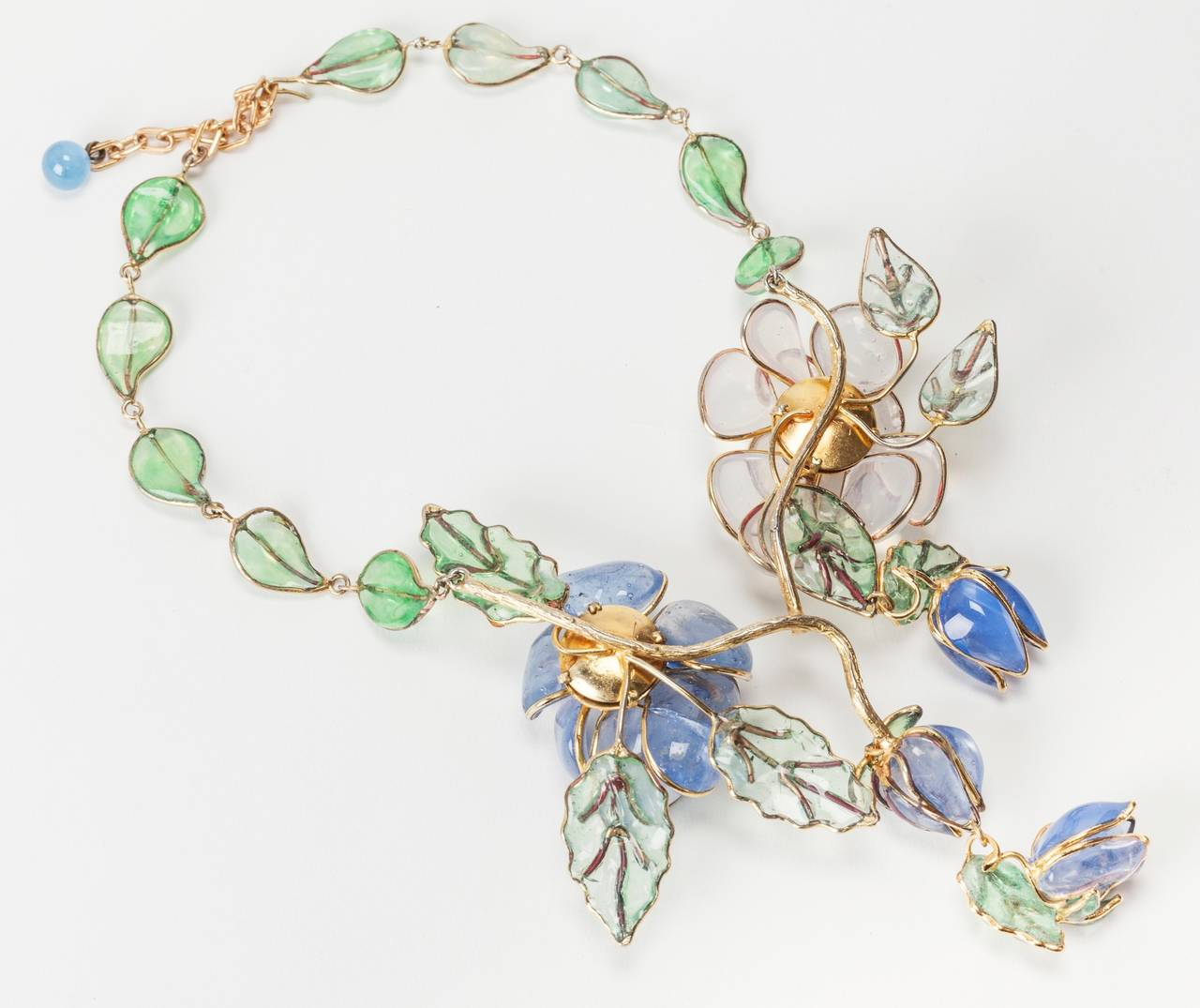 Chanel Glass Enamel Flower Necklace For Sale 1