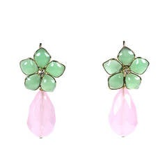 "Jade Pate de Verre and Rose Quartz ""Palm Beach"" Earrings, MWLC"