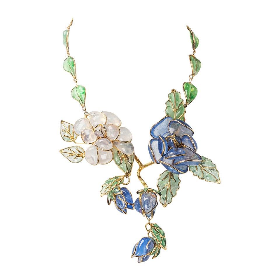 Chanel Glass Enamel Flower Necklace For Sale