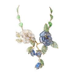 Chanel Glass Enamel Flower Necklace