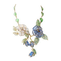 Chanel Glass Enamel Flower Necklace