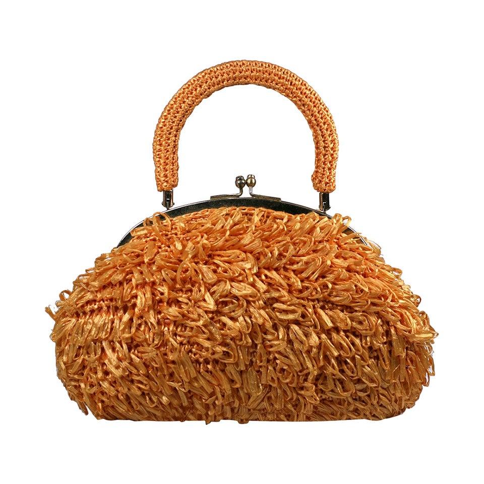 Mod Orange Looped Raffia Bag