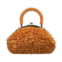 Mod Orange Looped Raffia Bag