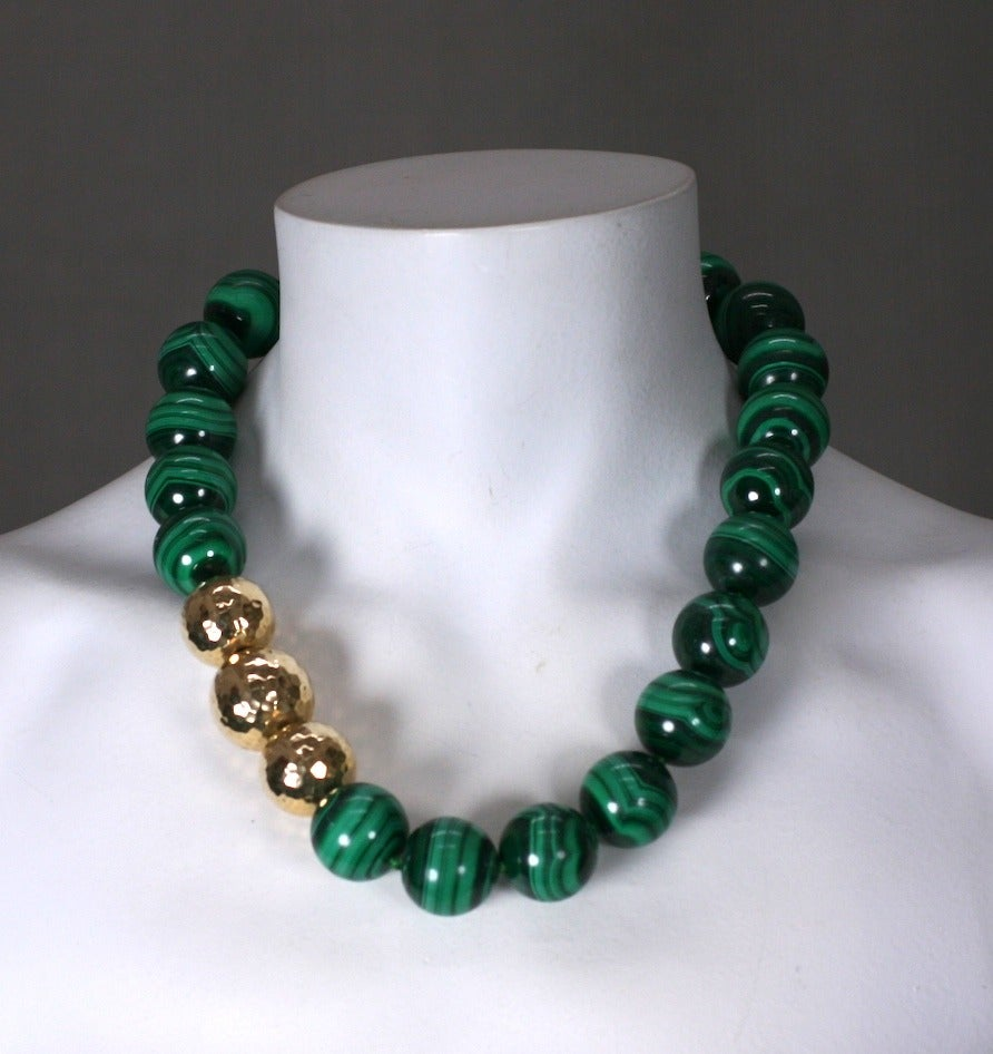 Oversized Malachite Beads In Excellent Condition For Sale In Riverdale, NY