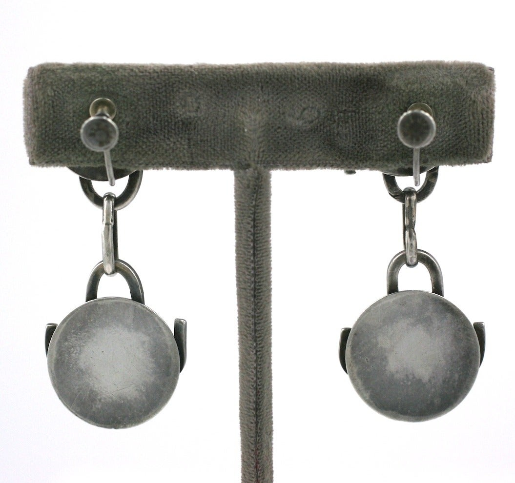 Modernist Sterling Studio Earrings In Excellent Condition For Sale In Riverdale, NY