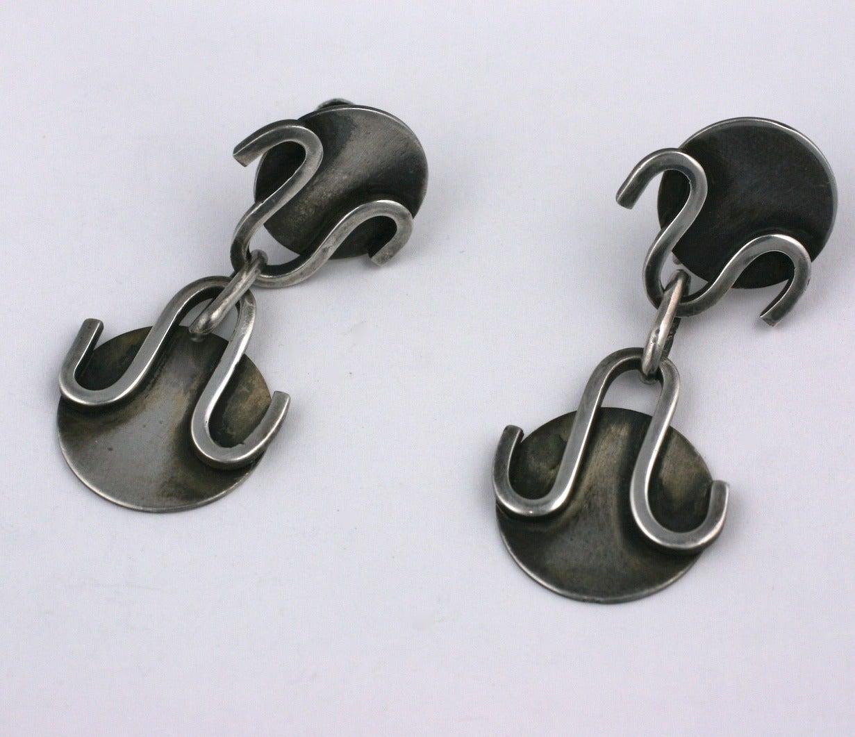 Modernist Sterling Studio Earrings 4