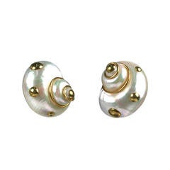 MAZ 18-Karat Studded White Turbo Earclips