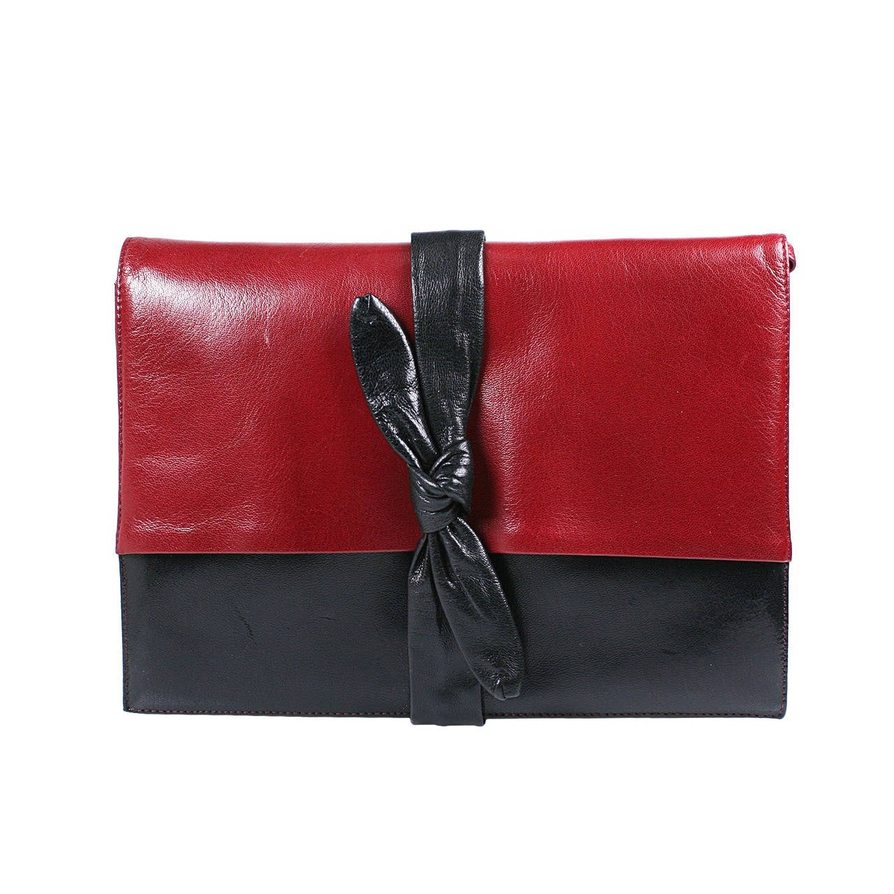 """La Bagagerie Red and Navy """"Knot"""" Clutch"""