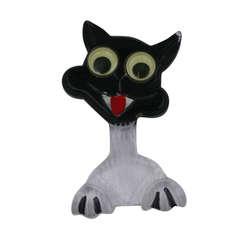 Art Deco Carved Googly Eye Cat