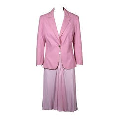 Gianni Versace Pink Denim Suit