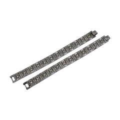 Pair of Art Deco Paste Bracelets