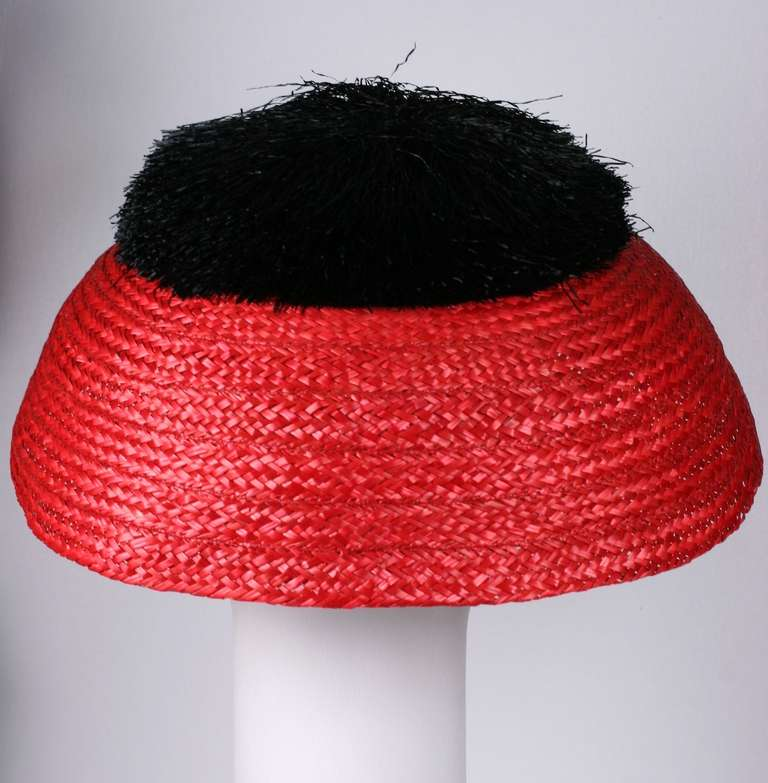 Red Italian Straw Resort Hat For Sale