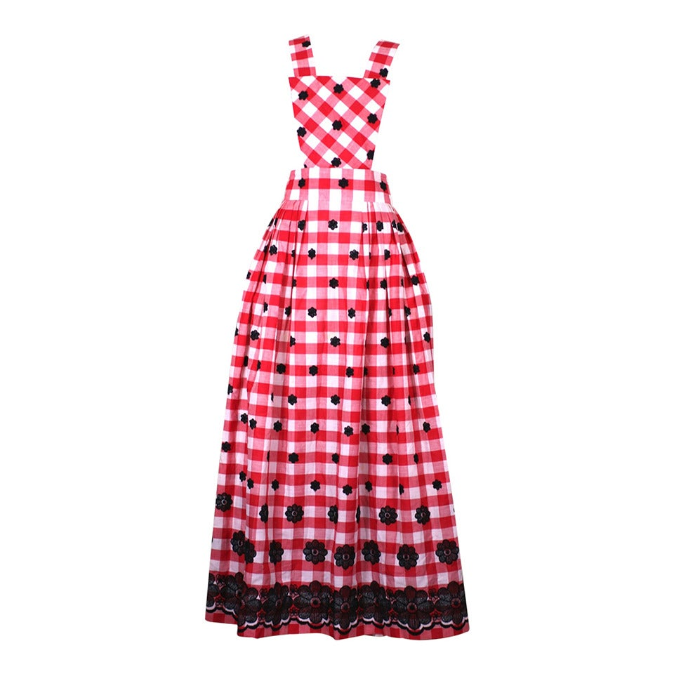 Gingham Pinafore Hostess Maxi
