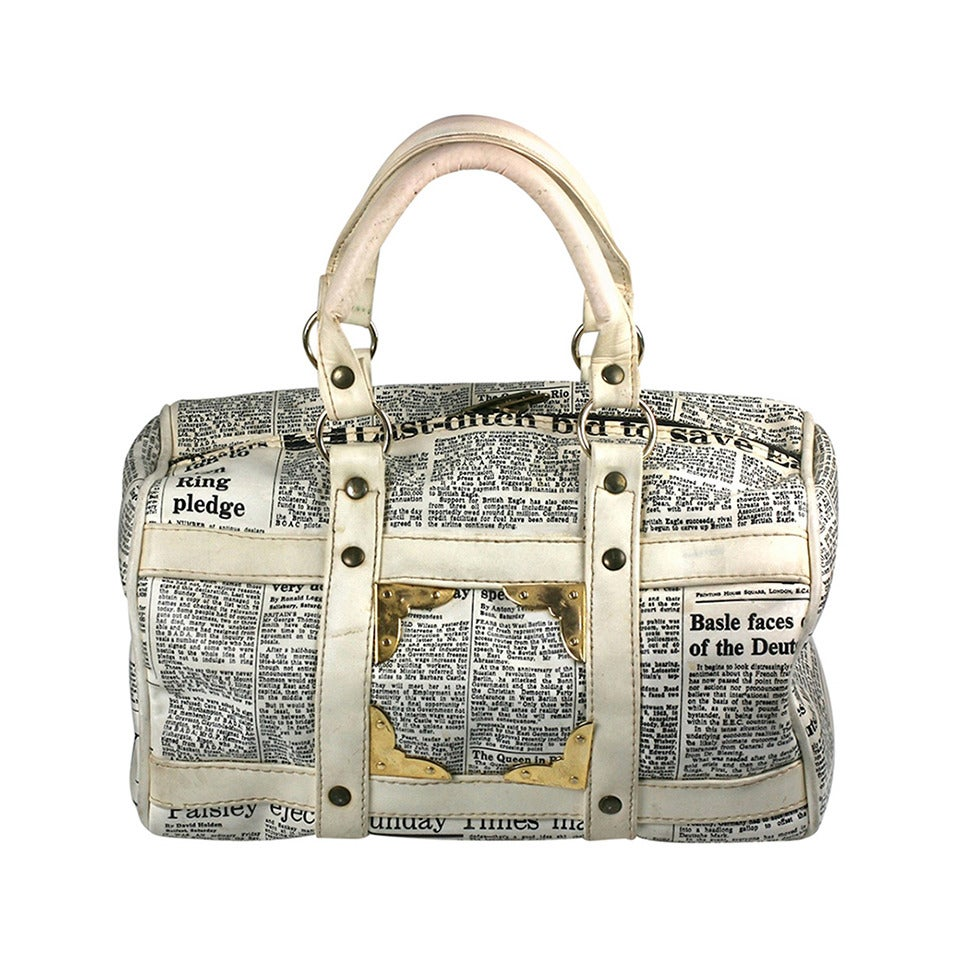 Mod English Newsprint Satchel