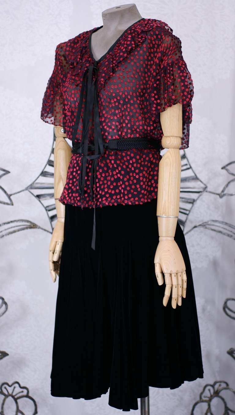 Black Yves Saint Laurent Silk Chiffon and Velvet Ensemble For Sale