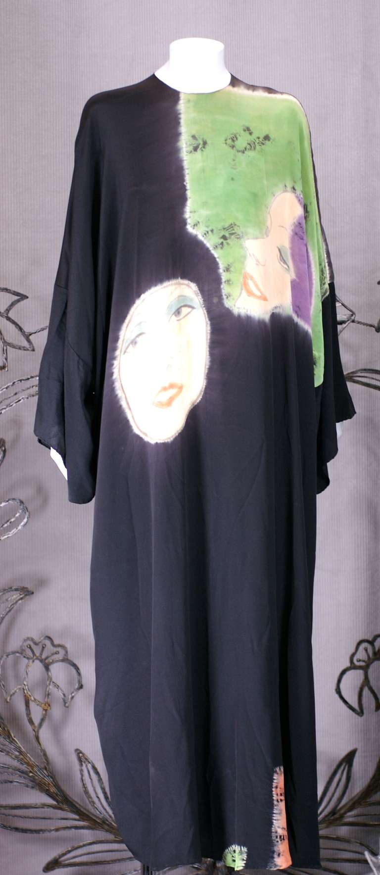 Rare, historical caftan of silk crepe with hand painted and tie dyed images of Hollywood icons....one with lilac hair resembling Garbo. Halston's handpainted/tie dyed series from the early 1970's was produced by famed textile house Up Tied. Up