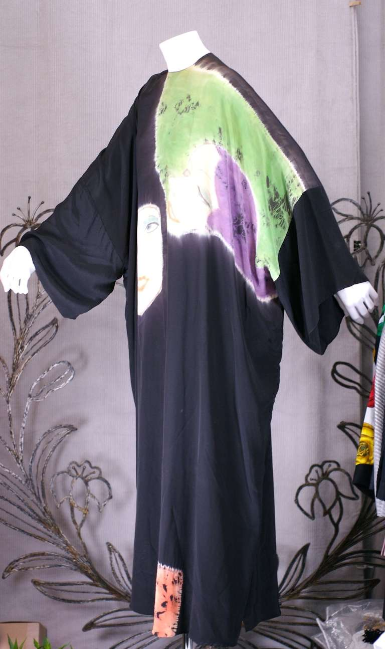 Rare Halston Hand Painted Caftan In Excellent Condition For Sale In Riverdale, NY