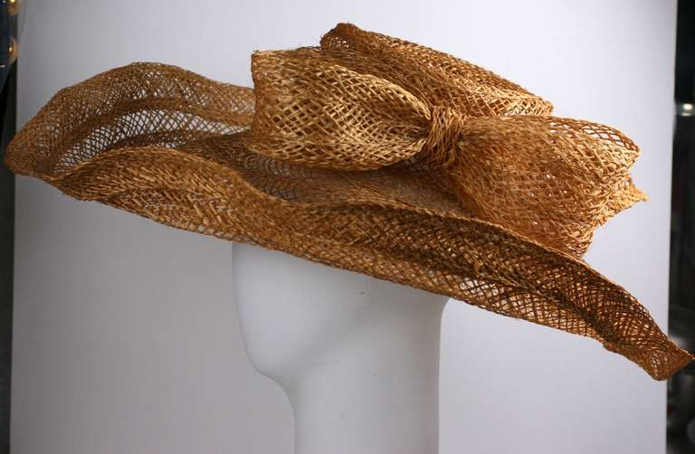 Brown Massive Editorial Straw Sun Hat For Sale