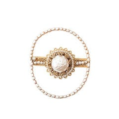 Miriam Haskell Circular Pearl Brooch
