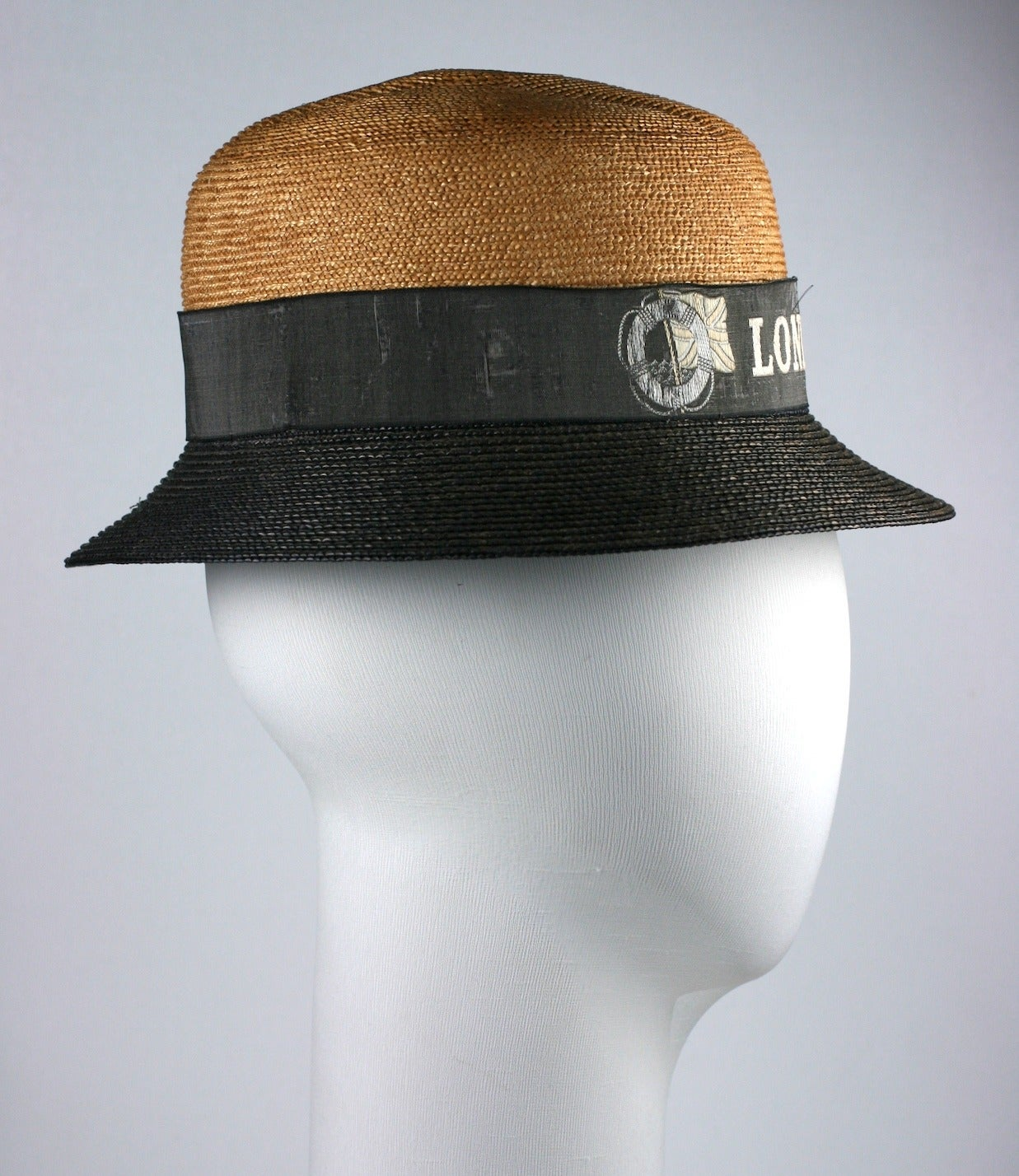 Black Early 2 Toned Straw Hat,