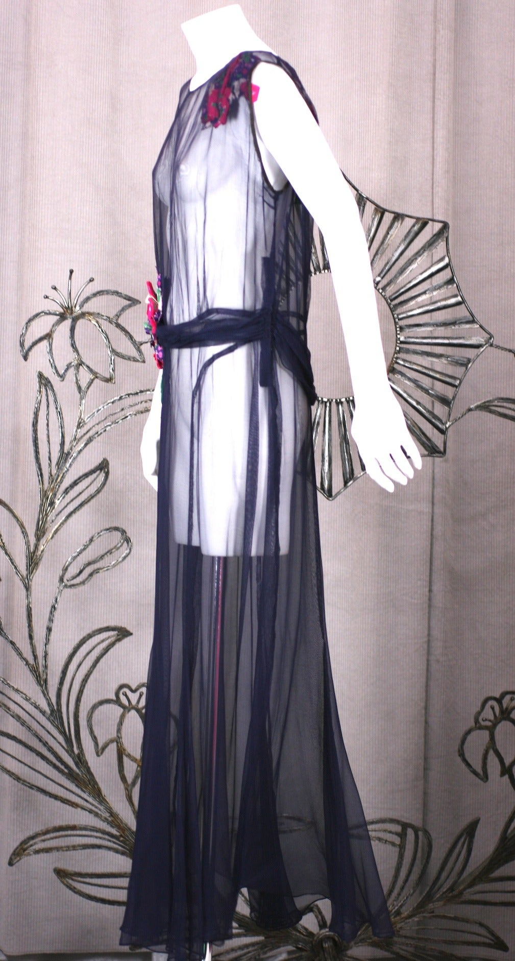 Wonderful quality early 1930s deep navy blue sheer marquisite, flower trimmed evening dress with