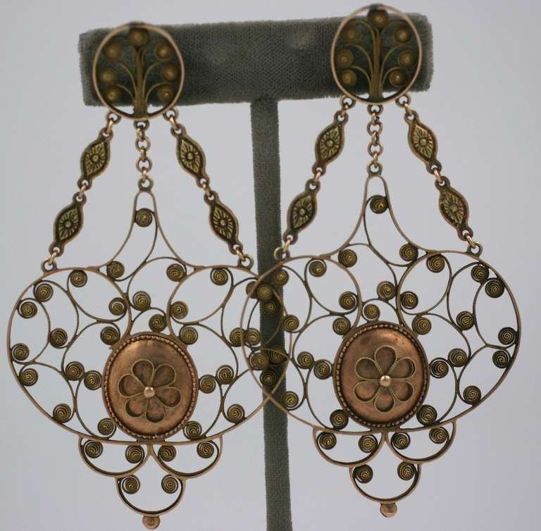 Massive 19th Century Georgian Gold Earrings 2